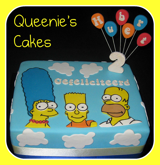 Incredible Simpsons Joint Anniversary Amp Birthday Cake Queenies Cakes Funny Birthday Cards Online Alyptdamsfinfo